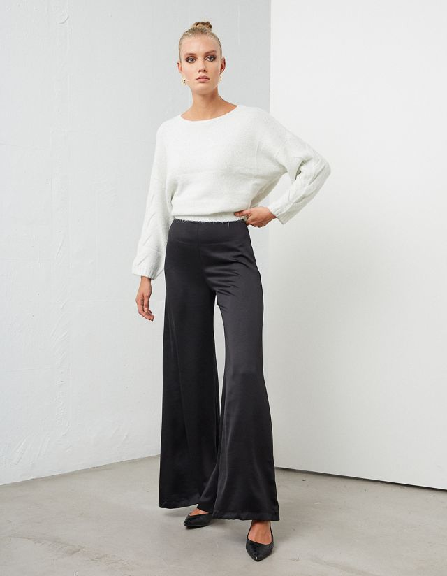 HIGH WAISTED SATIN FLARE TROUSERS