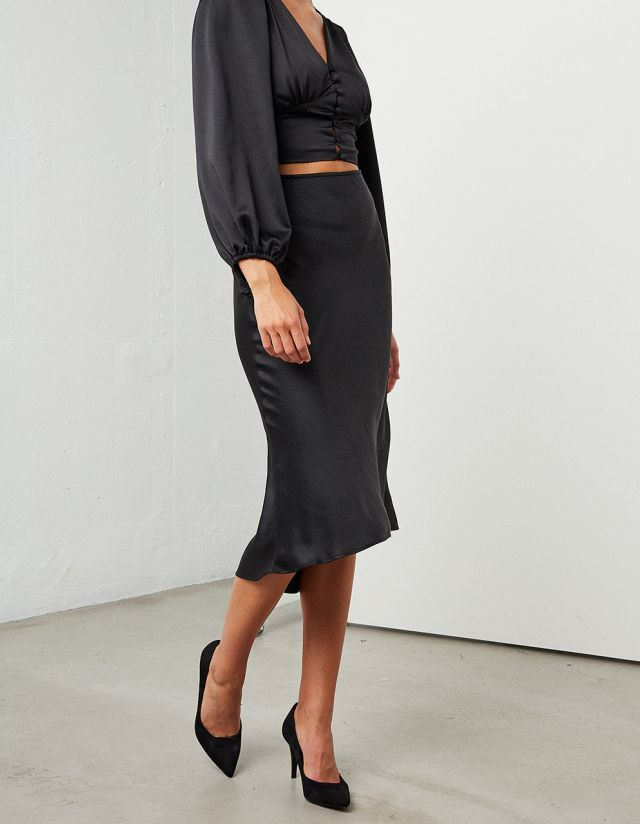 MIDI SATIN ASYMMETRIC SKIRT