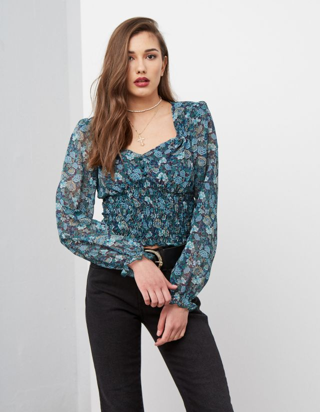 FLORAL BLOUSE WITH SHIRRED BAND