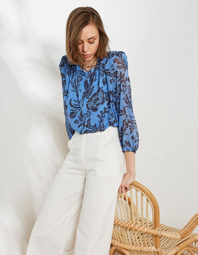 PRINTED BLOUSE WITH PADS
