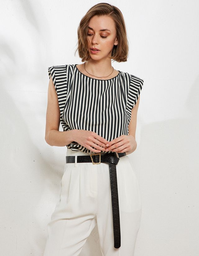 STRIPED BLOUSE WITH PADS