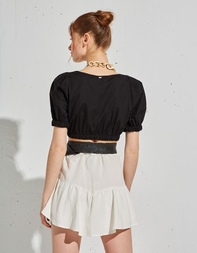 CROP TOP WITH PUFF SLEEVES