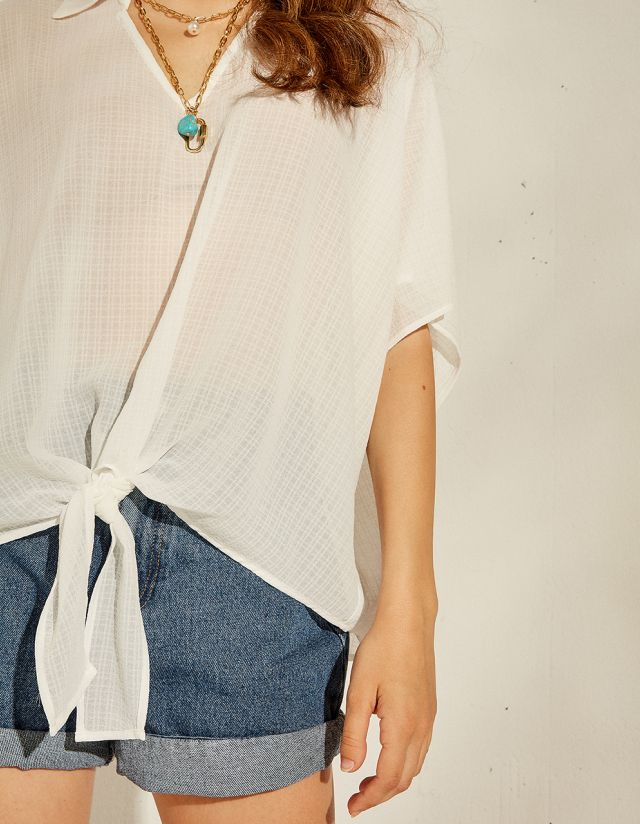 OVERSIZED BLOUSE WITH KNOT
