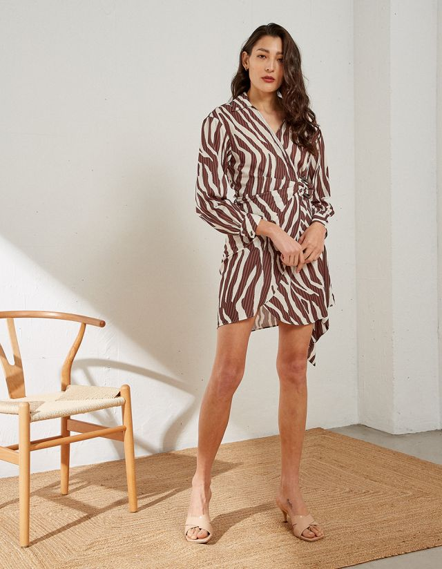 WRAP ZEBRA PRINT DRESS