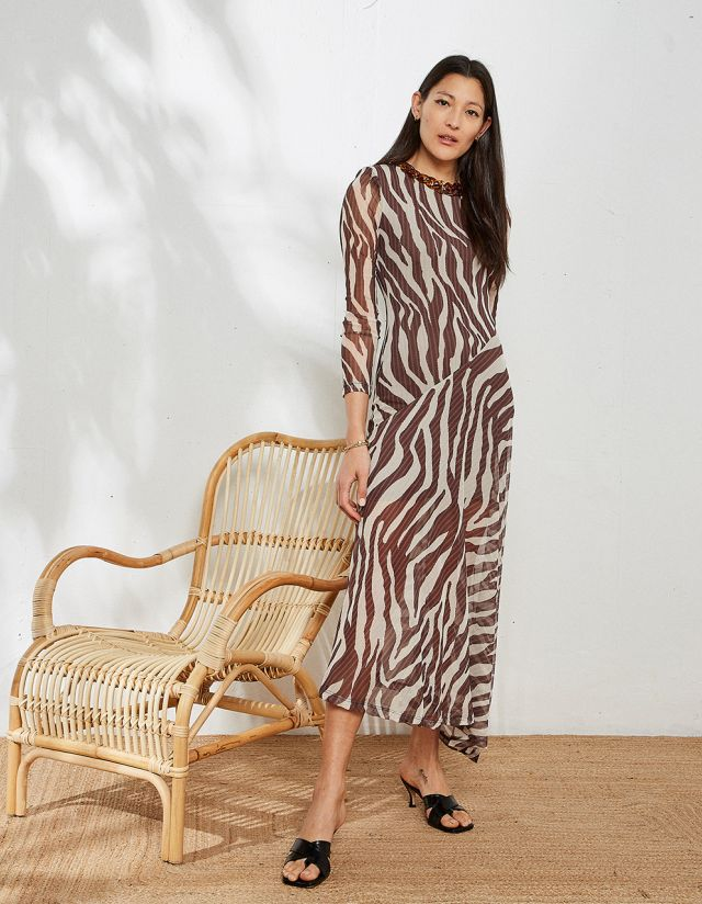 MAXI PRINTED DRESS WITH NECKLACE