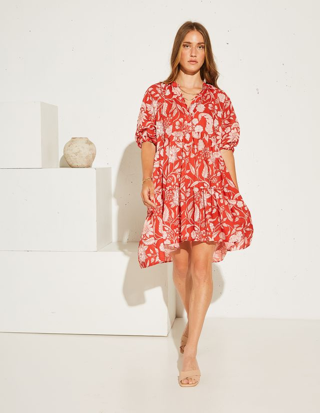PRINTED DRESS WITH BUTTONS