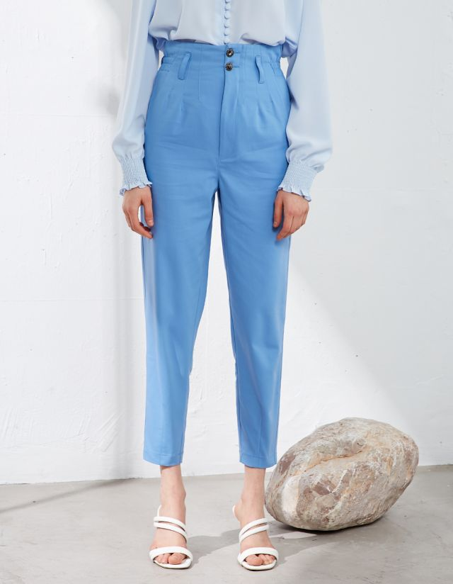 TROUSERS WITH BEJEWELED BUTTONS