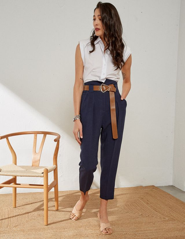 LINEN TROUSERS WITH BELT