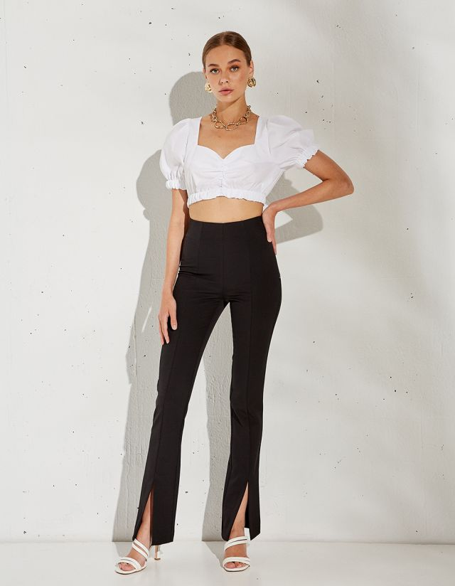 HIGH WAIST TROUSERS WITH SLIT
