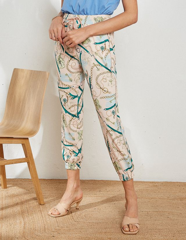 PRINTED BEJEWELED TROUSERS
