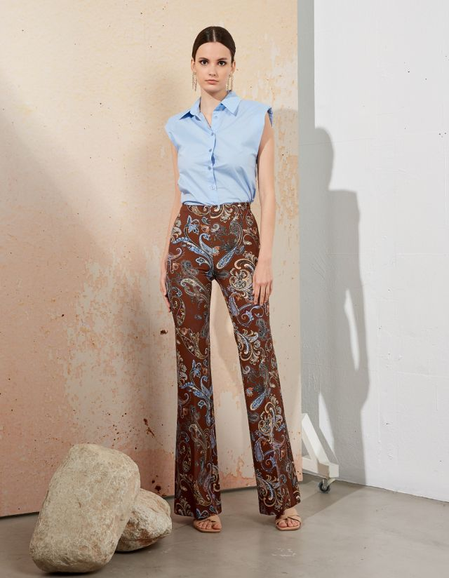HIGH WAIST PRINTED TROUSERS