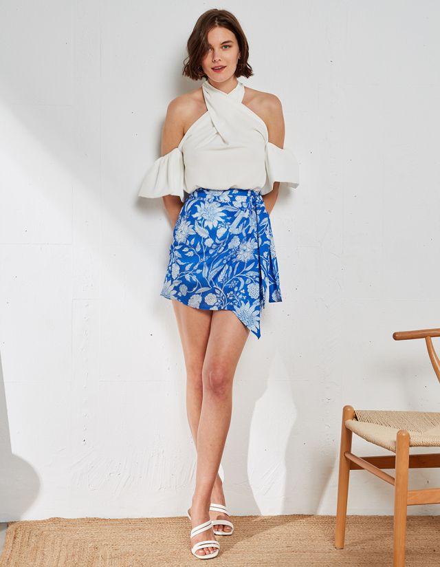 MINI WRAP FLORAL SKIRT