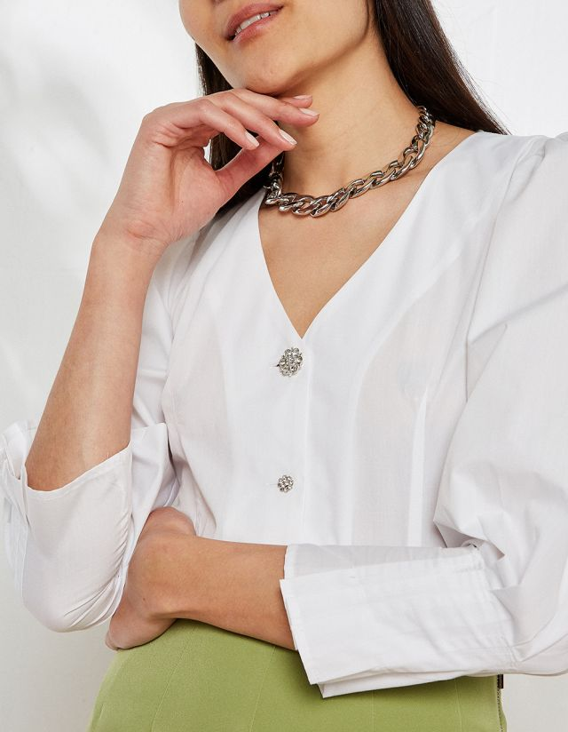 SHIRT WITH BEJEWELED BUTTONS