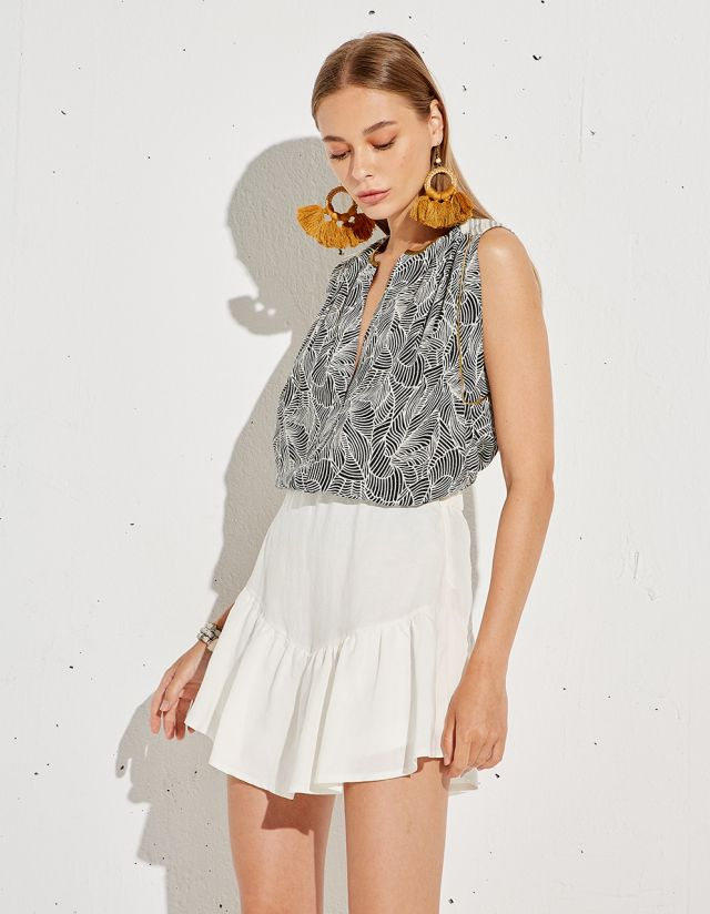 PRINTED BLOUSE WITH LUREX
