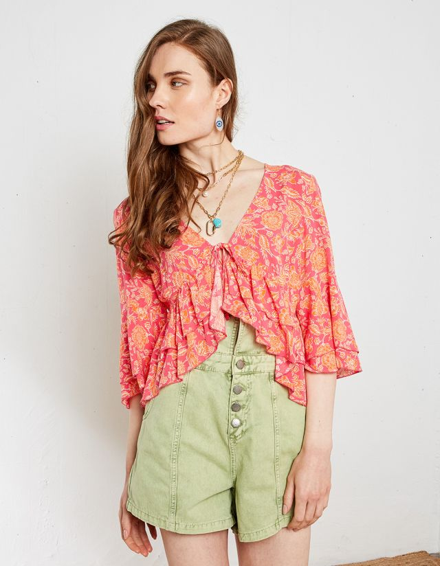 PRINTED FRONT TIE BLOUSE