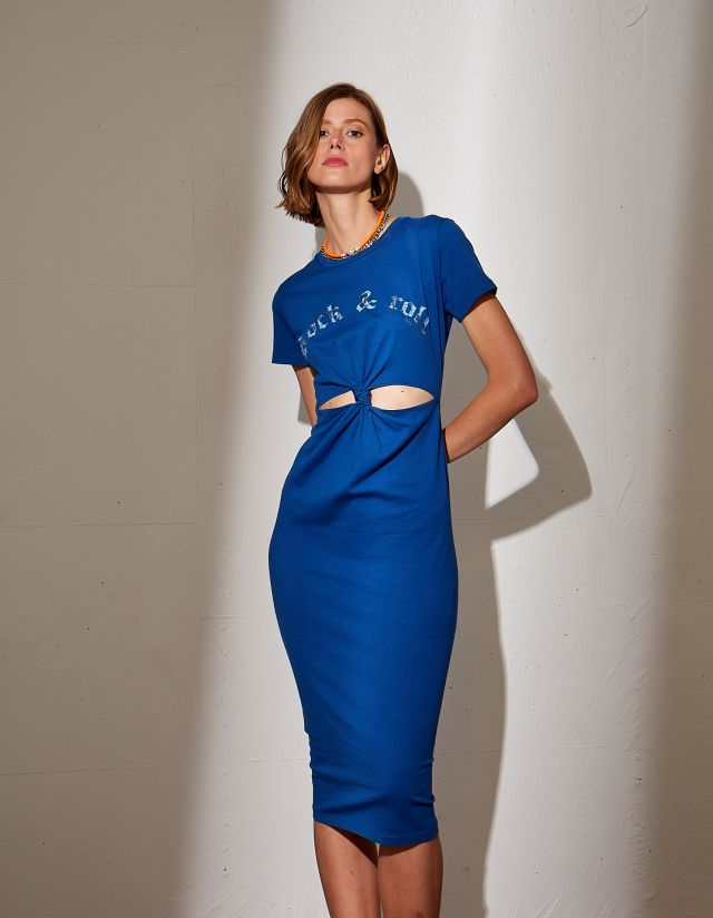 MIDI DRESS WITH CUT-OUTS
