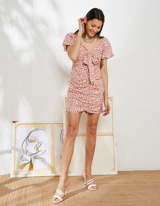 FLORAL DRESS WITH GATHERED FRONT