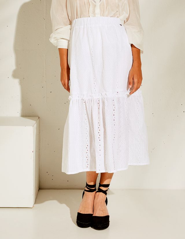 SKIRT WITH CUTWORK EMBROIDERY