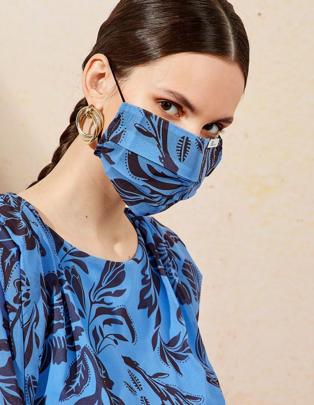 FLORAL PLEATED MASK