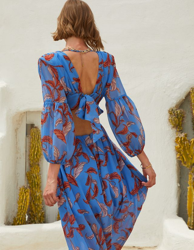 PRINTED DRESS WITH CUT OUT