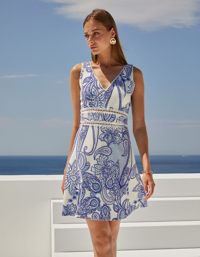 PAISLEY PRINT DRESS WITH EMBROIDERY