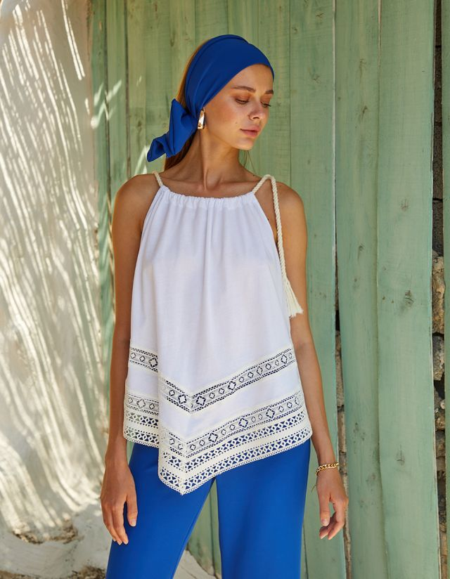 HALTER BLOUSE WITH EMBROIDERY