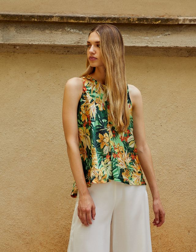 SATIN TOUCH FLORAL BLOUSE