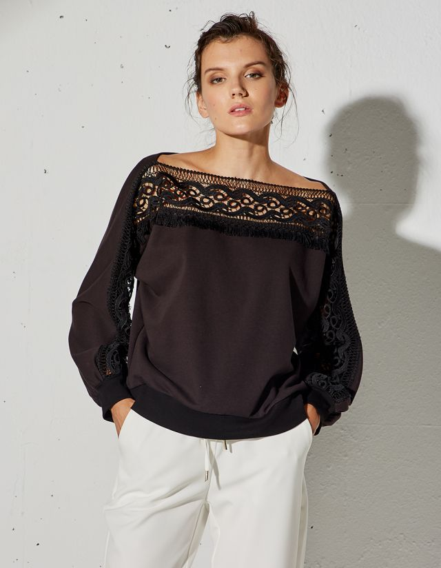 SWEATSHIRT WITH LASER CUT LACE