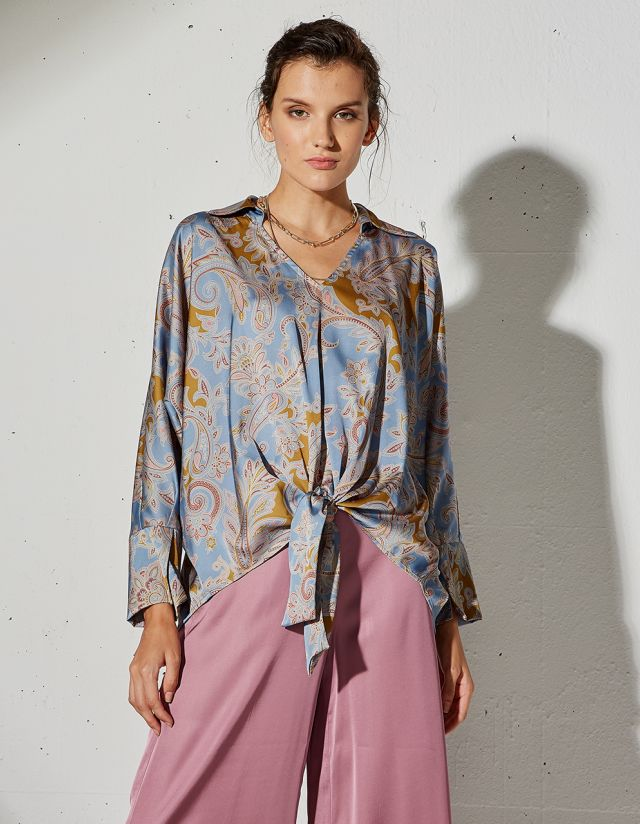 PAISLEY PRINT BLOUSE WITH KNOT