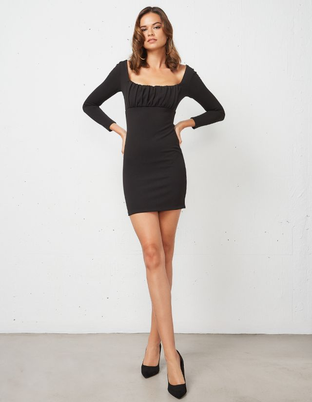 MINI DRESS WITH GATHERED CHEST