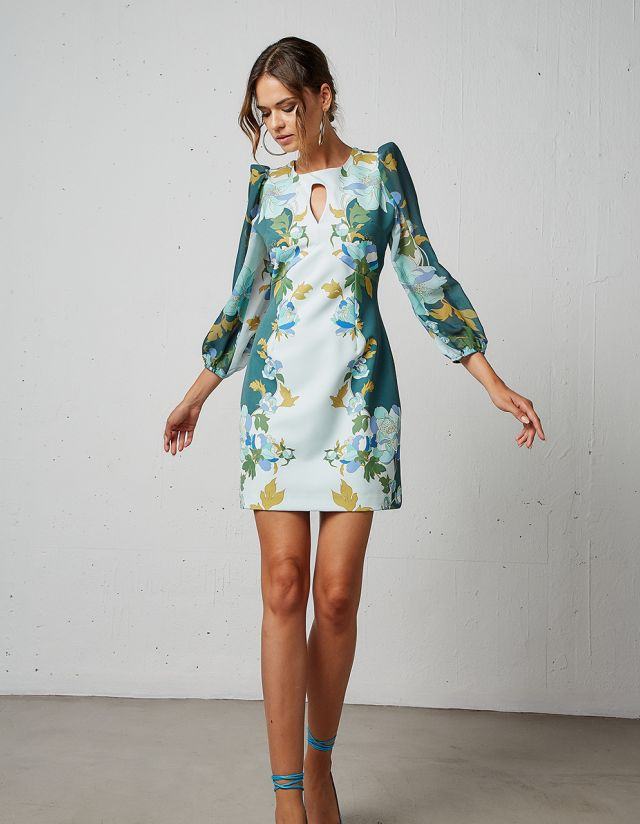 FLORAL DRESS WITH SLITS