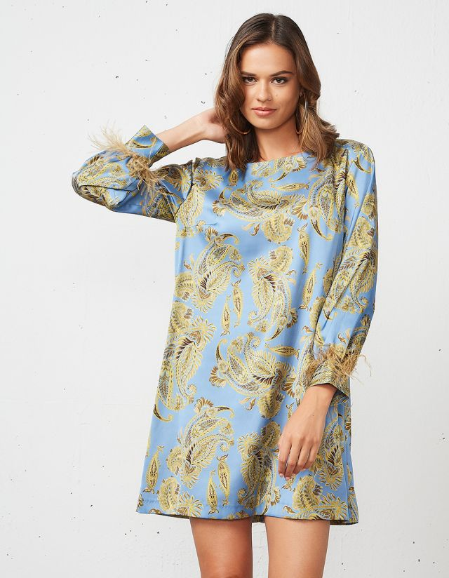 PAISLEY PRINT DRESS WITH FEATHERS