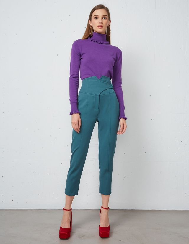 CIGARETTE TROUSERS WITH WAIST DETAIL