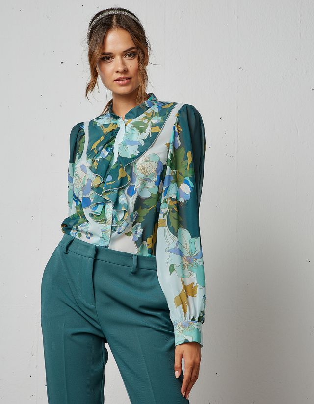 FLORAL SHIRT WITH RUFFLES