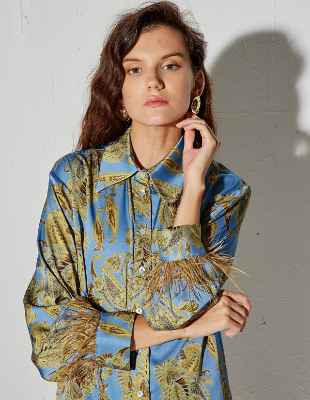 PAISLEY PRINT SHIRT WITH FEATHERS