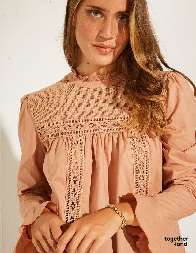 BLOUSE WITH CUTWORK EMBROIDERY - TOGETHERLAND