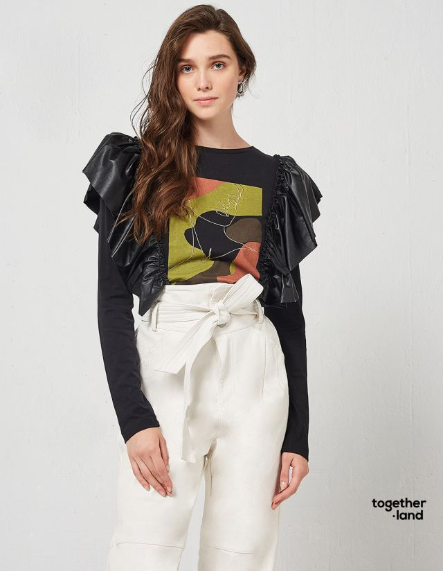 BLOUSE WITH LEATHER LOOK RUFFLES
