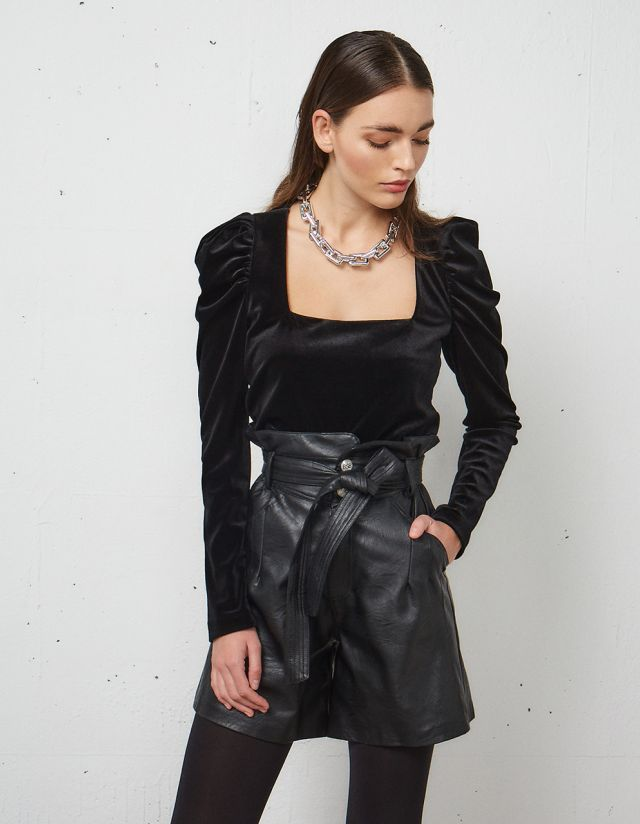VELVET BLOUSE WITH PUFF SLEEVES
