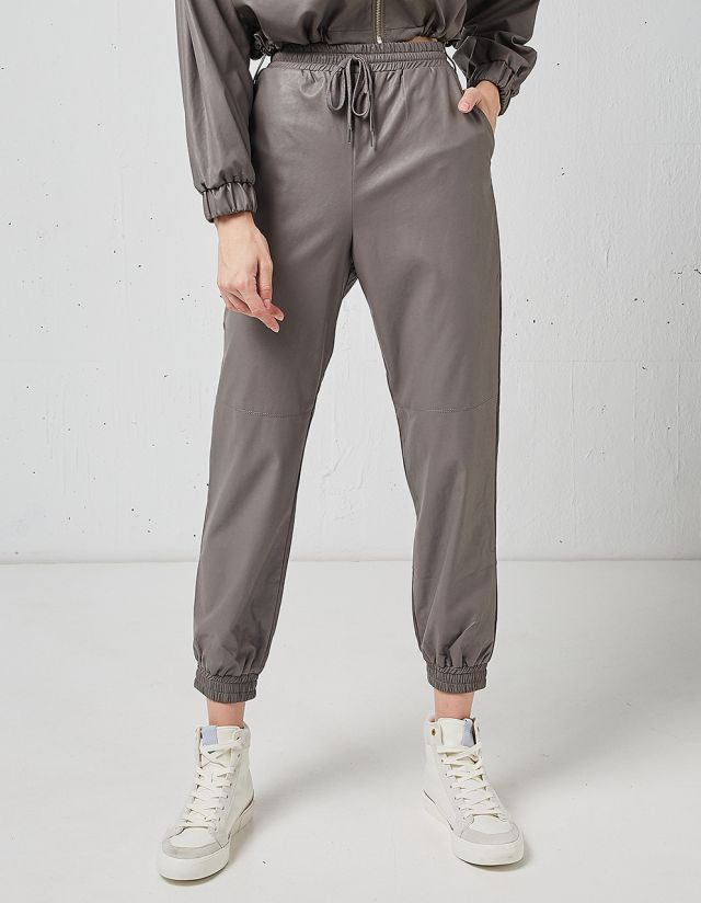 LEATHER EFFECT JOGGERS