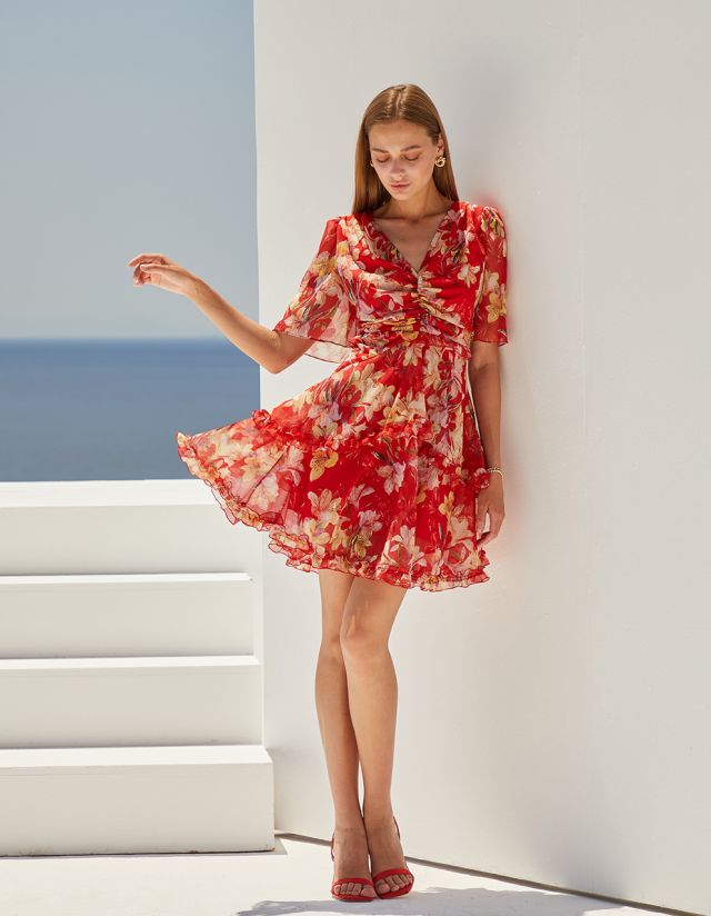 FLORAL DRESS WITH BACK DETAIL