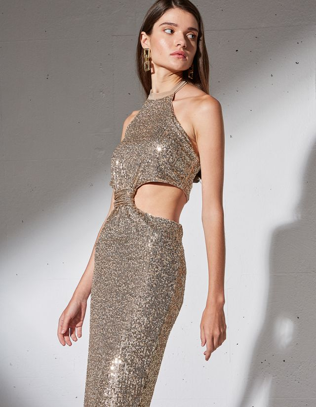 SEQUIN DRESS WITH CUTOUTS
