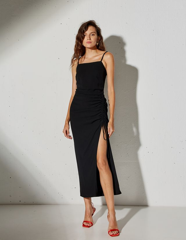 MAXI DRESS WITH GATHERED SIDES