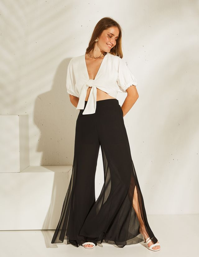 MONOCHROME TROUSERS WITH SIDE SLITS