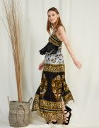 MAXI PRINTED DRESS WITH FRINGES